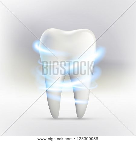 Whitening of human tooth. Stock vector illustration.