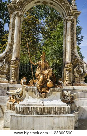 travel, golden fountains in segovia palace in Spain. bronze figures of mythological gods and classic
