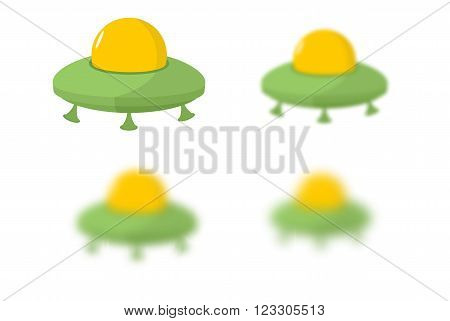 UFO. Flying saucer. Transport strangers. Aliens. UFO kit with different th blur. Blurred UFO. Space transport