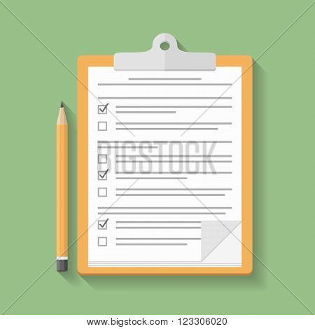 Survey or test concept clipboard with documents with check boxes and pencil, flat design, vector eps10 illustration