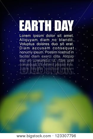 Earth Day. Planet Earth And Black Space. Space For Your Text. Postcard, Poster For Earth Day. Globe
