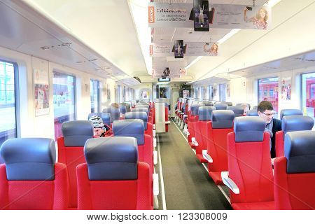 AEROEXPRESS RUSSIA -- March 18.2016: Interior of salon of aeroexpress from the airport of Sheremetyevo
