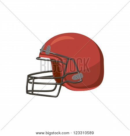 Football helmet with face mask icon in cartoon style on a white background
