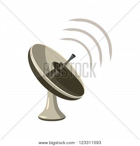 Radar icon  in cartoon style isolated on white background. Satellite dish tv technology icon