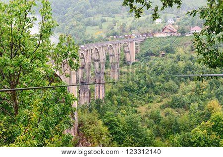 TARA RIVER CANYON MONTENEGRO - SEPTEMBER 20 2015: Cableway near the bridge Dzhurdzhevicha Tara River Canyon Montenegro
