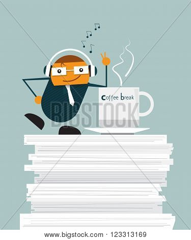 Illustration vector of cute cartoon businessman relaxing on document paper in office. And standing with hot coffee listening music from headphone at coffee time.Take a break at work