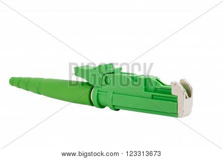 fiber optic E2 (LSH) pigtail patchcord connectors isolated on white background poster