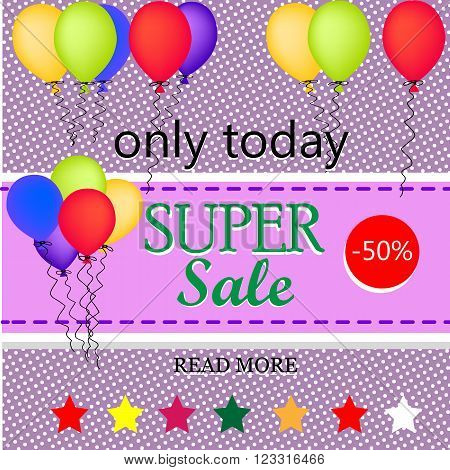 Sale background template with balloons. Sale poster Vector illustration.