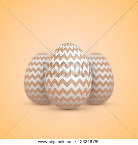 Illustration of Realistic Vector Easter Egg Icon. Painted Vector Egg Set with Shallow DOF Depth of Field Effect