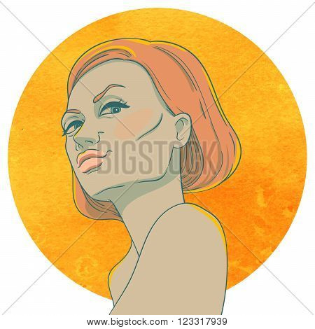 Portrait of arrogant young girl with red hair on the background of the watercolor circle