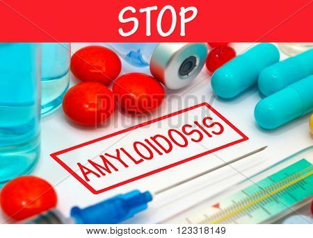 Stop amyloidosis. Vaccine to treat disease. Syringe and vaccine with drugs.