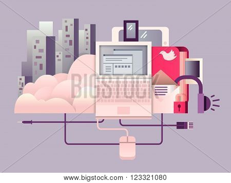 Cloud hosting design flat. Technology web computing, connection internet, cloud data storage, vector illustration