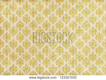 old grey canvas with gold barocco ornament.vector illustration