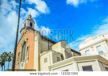 Los Angeles, CA, USA . January 16, 2016:  Blessed Sacrament Church School hollywood on Sunset Blvd, Los Angeles, CA 90028