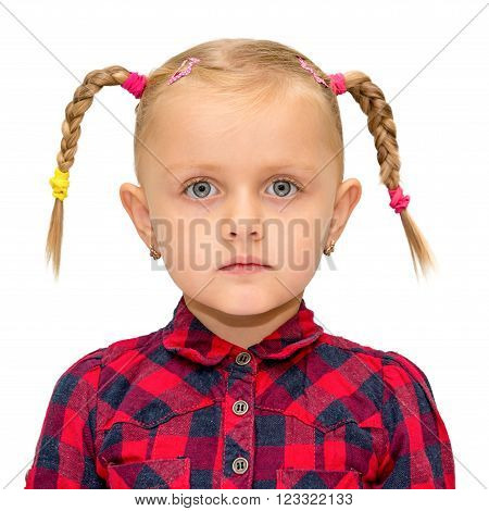 Portrait of cute young girl with pigtails isolated on white poster