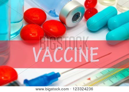 vaccine. Vaccine to treat disease. Syringe and vaccine with drugs.