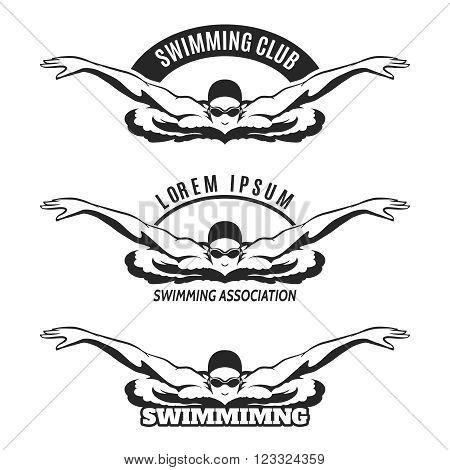 Swimming logo. Swimming man on wave logo or swimmer icon. Vector illustration