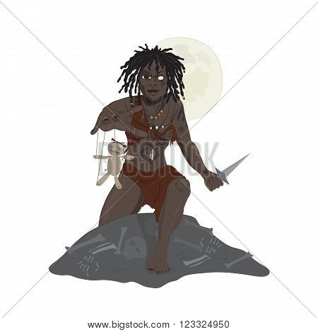 illustration of voodoo priest with toy at night
