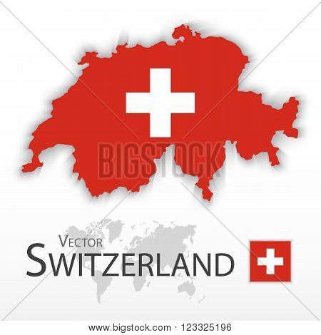 Switzerland ( Swiss Confederation ) ( flag and map ) ( transportation and tourism concept )