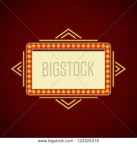 Retro Showtime Sign Design. Cinema Signage Light Bulbs Frame and Neon Lamps on brick wall background. American advertisement style vector illustration. 1950s Sign Design, Retro Signage, Sale.