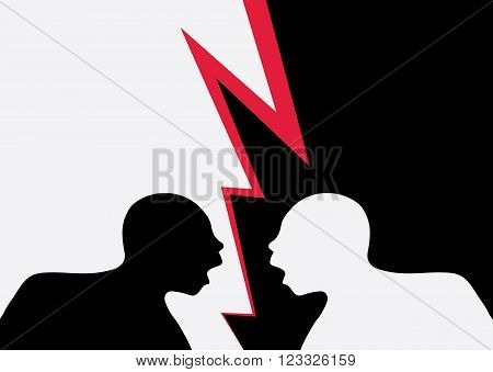 Illustration of two identical men seen in silhouette one black and one white shouting in violent disagreement red flash separating them.