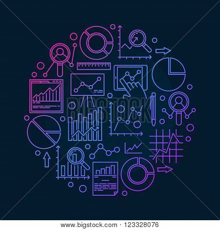 Round data analysis illustration - vector data analytics colorful symbol made with linear diagrams and charts