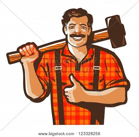 worker with a sledgehammer in hand isolated on white background. vector illustration