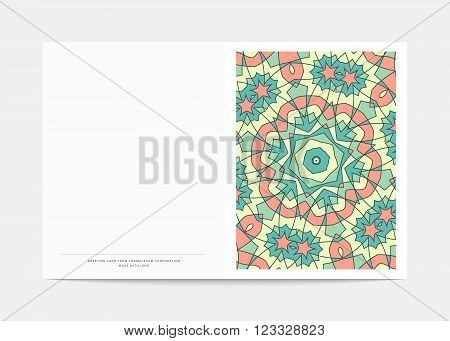 Postcard Retro . Cover in a turn with a bright pattern . Postcard for congratulations . Wedding greeting card .