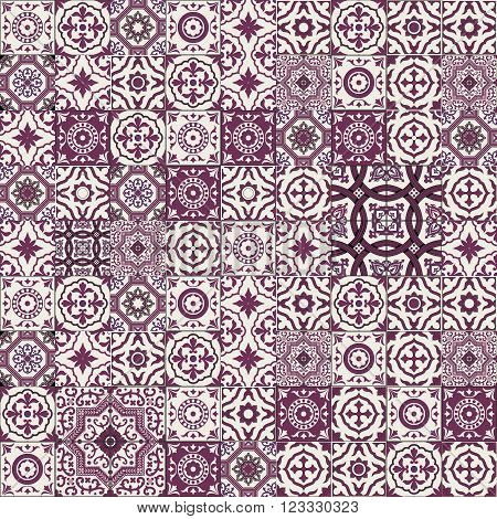 Mega Gorgeous seamless patchwork pattern from maroon and white Moroccan, Portuguese  tiles, Azulejo, Arabic ornament. Islamic art. Can be used for wallpaper, pattern fills, web page background, surface textures.