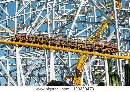 June 8 2013 .Saint-Petersburg.Roller coaster at the amusement Park