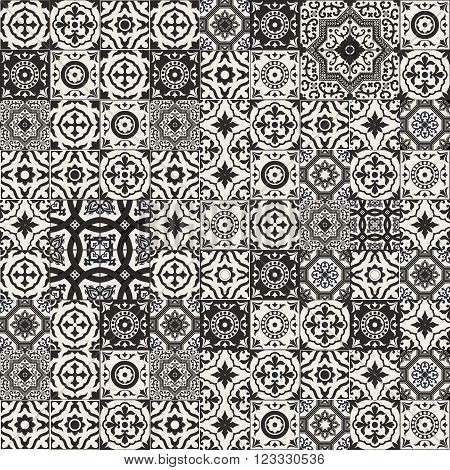 Mega Gorgeous seamless patchwork pattern from black and white Moroccan, Portuguese  tiles, Azulejo, Arabic ornament. Islamic art. Can be used for wallpaper, pattern fills, web page background, surface textures.