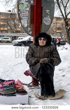 Old Women Selling Woollen Socks On The Street Monochrome