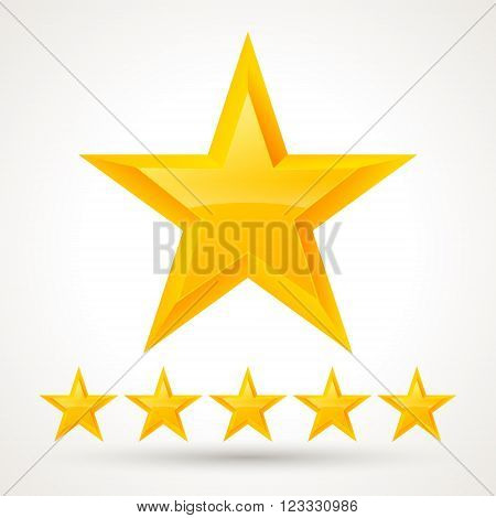 Vector set of gold stars. Gold stars on a light background for your ideas and business.