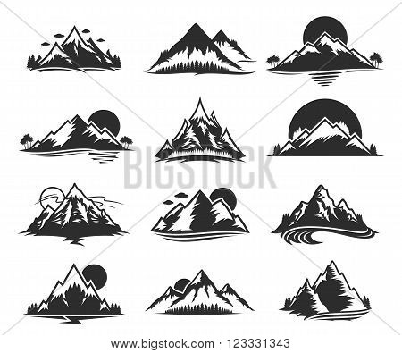 Vector mountains icons isolated on white. Tourism hiking and camping icons. Mountains and travel icons for tourism organizations outdoor events and mountains leisure.