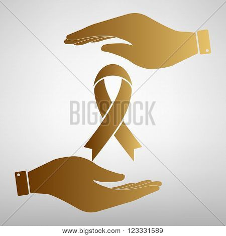 Black awareness ribbon sign. Flat style icon vector illustration.
