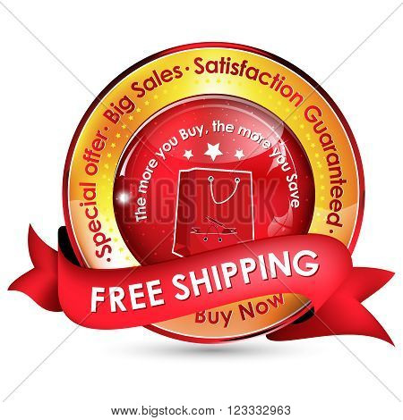 Free shipping. Big Sales. Special offer. Satisfaction guaranteed golden red ribbon for sales business
