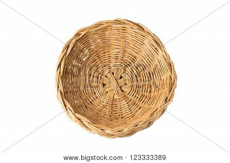 top view of vintage  weave wicker basket isolated on white background