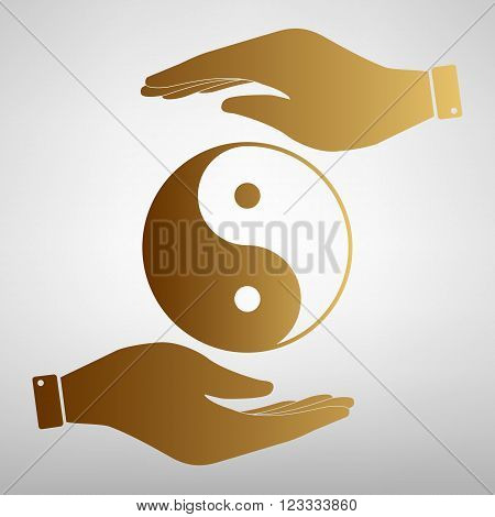 Ying yang symbol of harmony and balance. Flat style icon. Black vector illustration.