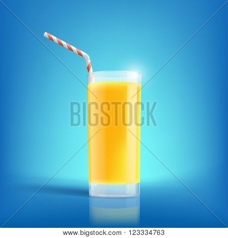 Glass of freshly squeezed orange juice. Drink with vitamins. Stock vector illustration.