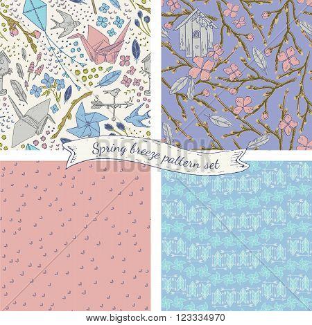 Spring breeze seamless pattern set. Lovely romantic vintage style. Origami crane, bird feathers, pinwheel illustration elements.