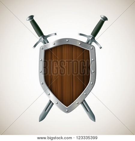 Icon Two sword and shield. Heraldic sign. Coat of arms. The realistic image. Stock vector illustration.