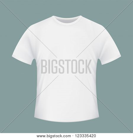 White blank T-shirt. Realistic isolated image of clothing. Stock vector illustration.