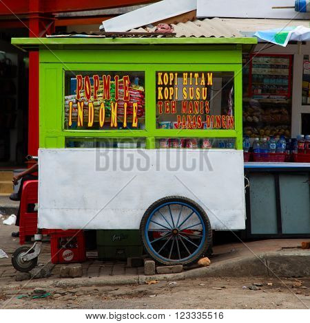 BANDUNG, INDONESIA - AUGUST 28, 2015: Indonesian food stall in Bandung, Indonesia