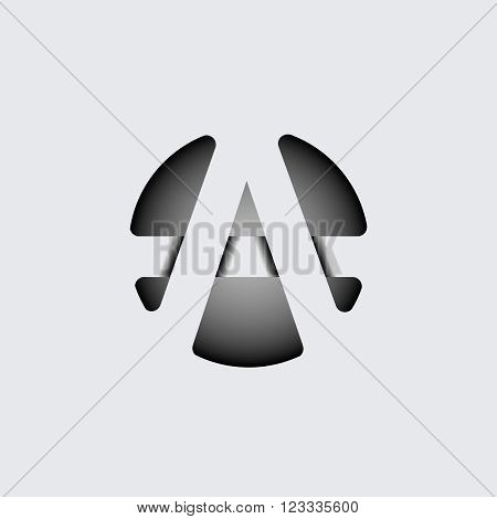 Capital letter A. Made of wide white stripes Overlapping with shadows. Logo, monogram, emblem trendy design.