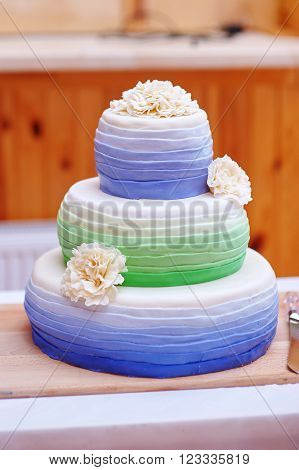 Ttraditional three tier wedding cake with daisy flower decorations.