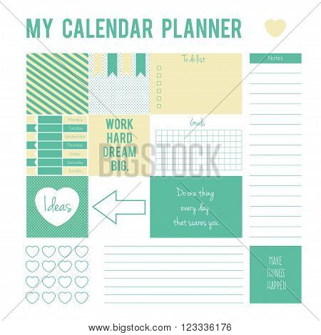 Vector printable boxeshalf boxesmotivation quotes in flat colors for planners Printable to do pages for life planner.Planner page with stickersprintable files.