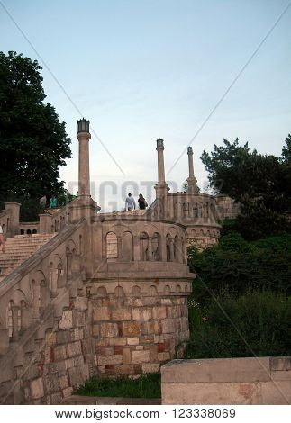 famous stone stairway steps in Kalemegdan Fortress Park Belgrade Serbia Europe ** Note: Soft Focus at 100%, best at smaller sizes