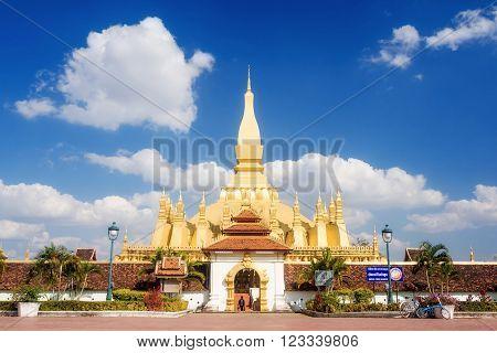 Vientiane Laos - December 18 2013: Wat Phra That Luang in Vientiane Laos.