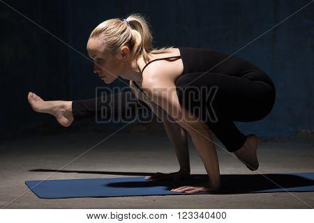 Beautiful Yoga Woman Standing In Eka Pada Bakasana 2