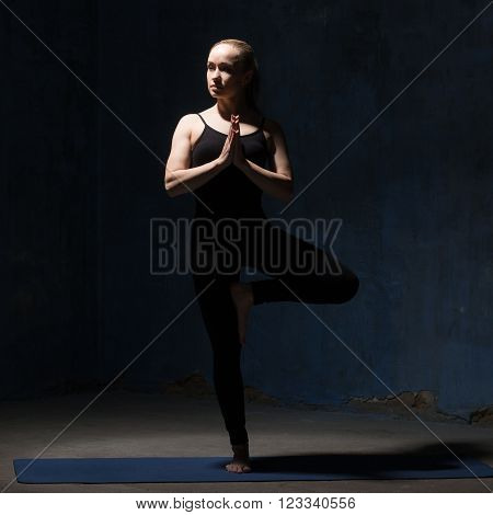 Beautiful Yoga Woman Doing Tree Pose